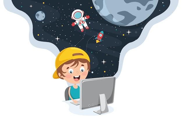 Little Happy Kid Przy Użyciu Technologii Premium Wektorów