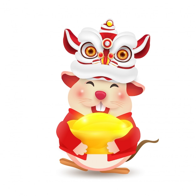 Little rat or mouse wykonuje chiński taniec lwa nowego roku. odosobniony. Premium Wektorów