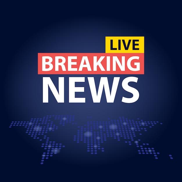 Live Breaking News Nagłówek Na Niebieskim Tle Kropkowanej Mapy świata Premium Wektorów