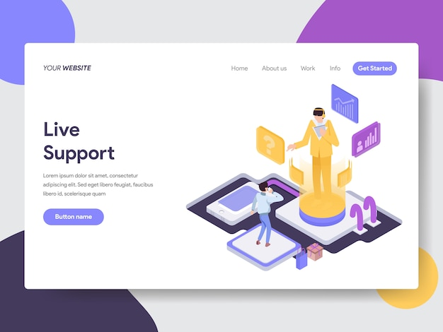 Live support illustration for web pages Premium Wektorów