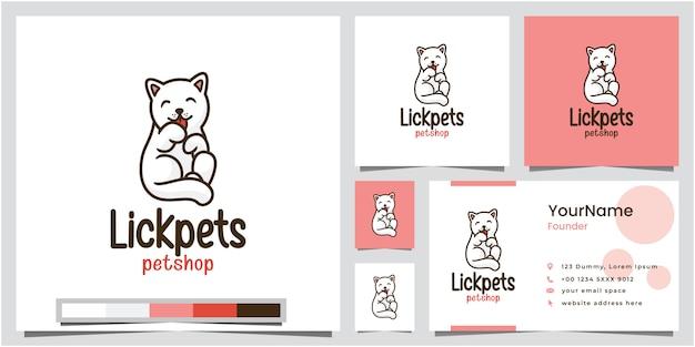 Lizanie Zwierzaków Projekt Logo Sklepu Zoologicznego Z Wizytówką Premium Wektorów