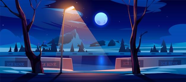 Lodowisko W Nocy. Puste Miejsce Publiczne Do Jazdy Na łyżwach Darmowych Wektorów