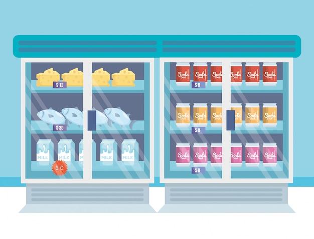 Lodówka Z Supermarketami Z Produktami Darmowych Wektorów