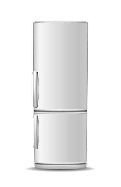 Lodówka Z Zamrażarką Na Białym Tle. Widok Z Przodu Lodówki Z Białej Stali. Nowoczesny, Realistyczny Sprzęt Agd Premium Wektorów