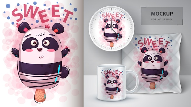 Lody Panda Bear Premium Wektorów