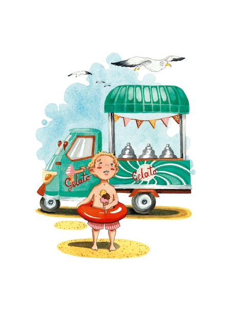 Lody Wózek Do Lodów Lato Chłopiec I Mewa Akwarela Ilustracja Premium Wektorów