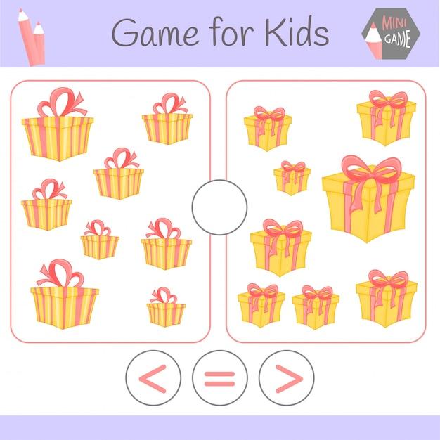 Logiczna gra edukacyjna dla dzieci w wieku przedszkolnym. zabawne roboty kreskówki. wybierz poprawną odpowiedź. większy niż, mniejszy lub równy Premium Wektorów