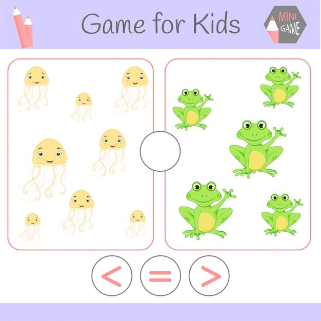 Logiczna gra edukacyjna dla dzieci w wieku przedszkolnym Premium Wektorów