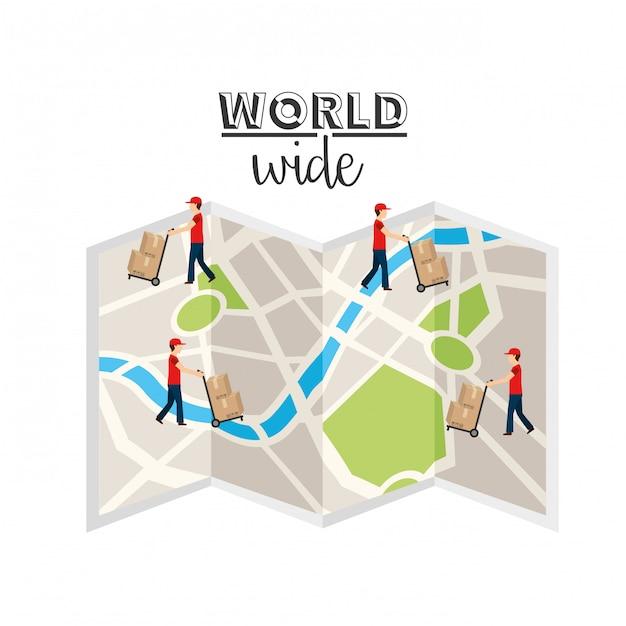 Logistyczna koncepcja na całym świecie Premium Wektorów