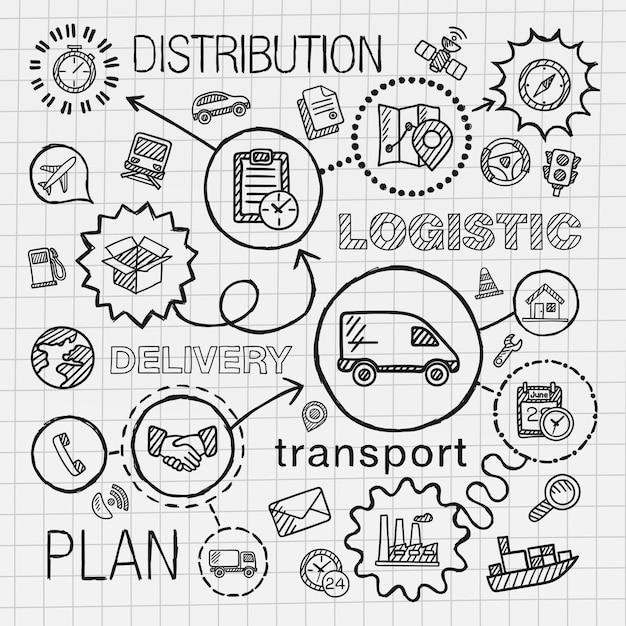 Logistyczne Ręcznie Rysować Zintegrowany Zestaw Ikon. Szkic Infografika Ilustracji Z Linią Połączoną Doodle Luku Piktogramów Na Papierze. Dystrybucja, Spedycja, Transport, Usługi, Koncepcje Kontenerów Premium Wektorów