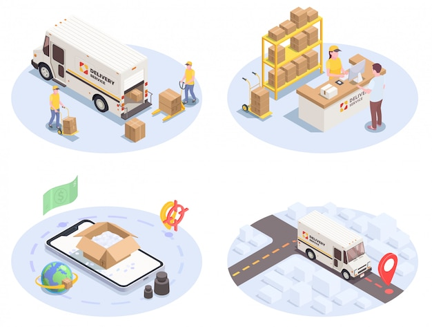 Logistyka Dostawy Przesyłka Ustawia Cztery Izometrycznego Wizerunku Z Kolorowymi Ikona Piktogramami Ludzkimi Charakterami I Samochodami Ilustracyjnymi Darmowych Wektorów