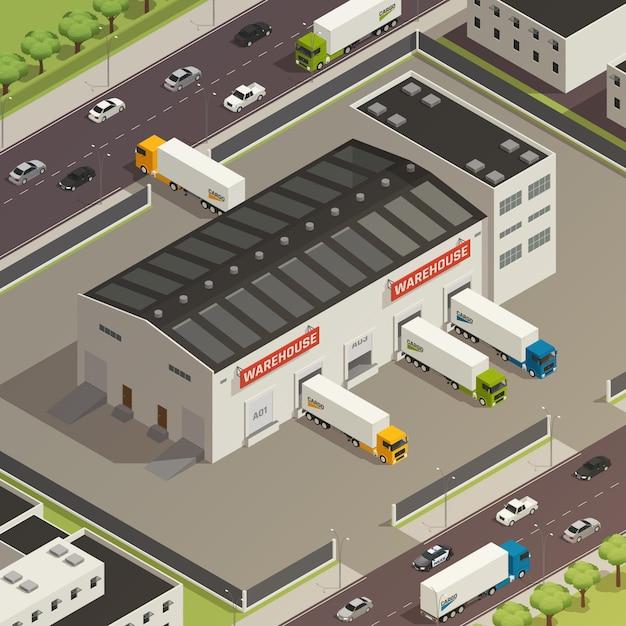 Logistyka Składu Ciężarówek Ciężkich Pojazdów Podczas Załadunku I Wysyłki ładunku W Pobliżu Budynku Magazynu Darmowych Wektorów