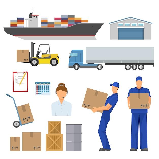 Logistyka Zestaw Ozdobnych Elementów Płaskich Darmowych Wektorów