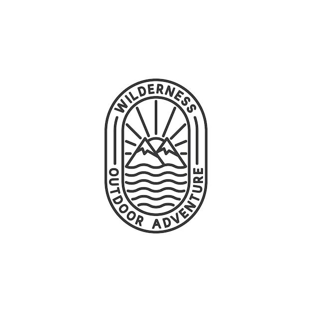 Logo adventure badge w stylu monoline Premium Wektorów
