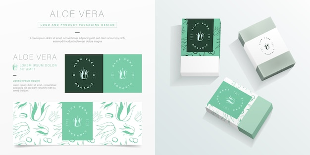 Logo Aloe Vera I Szablon Projektu Opakowania. Makieta Pakietu Ekologicznego Mydła. Premium Wektorów