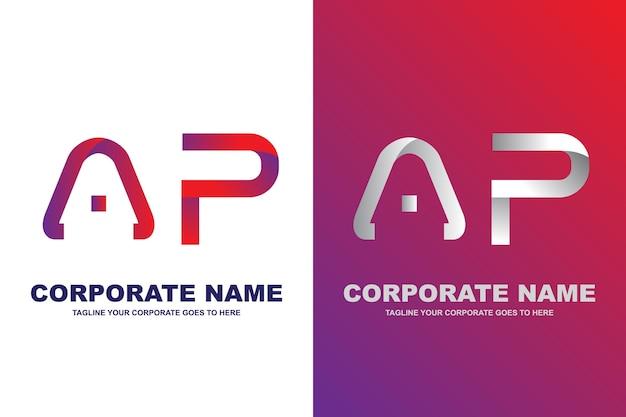 Logo ap nowoczesnej litery Premium Wektorów