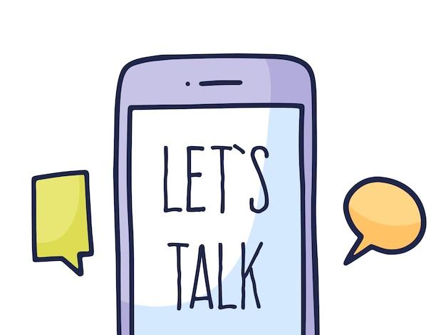 Logo Aplikacji Talk, Telefon Komórkowy Z Czatem. Premium Wektorów