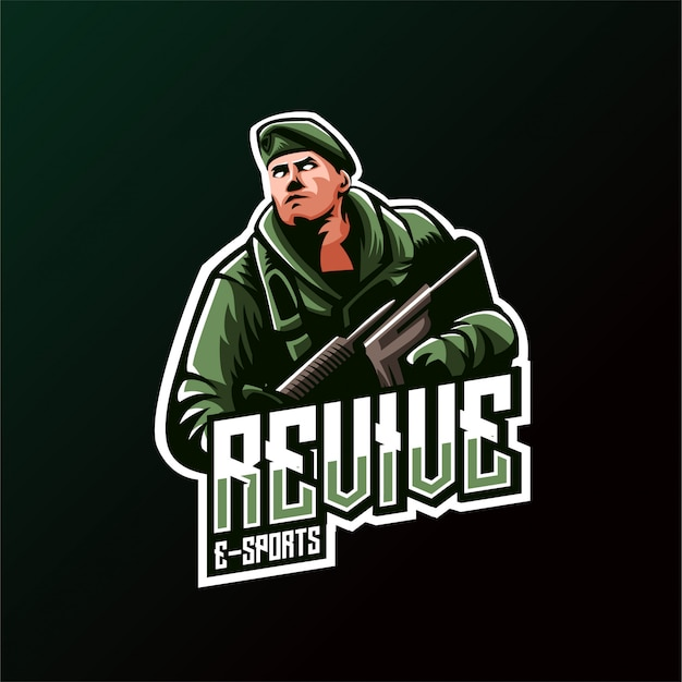 Logo Army Shooter Esports Gaming Premium Wektorów