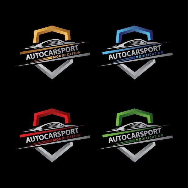 Logo auto car sport shield Premium Wektorów