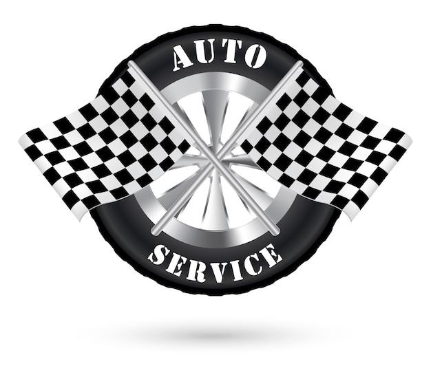 Logo Auto Serwis Samochodowy Z Flagą Wyścigów Premium Wektorów