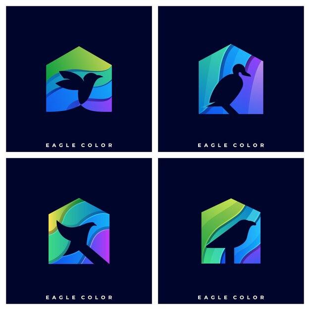 Logo bird with house Premium Wektorów
