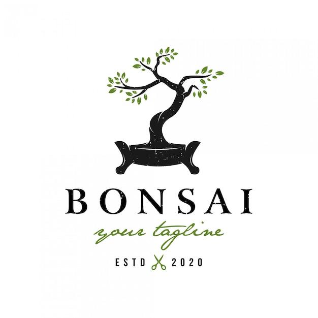 Logo Bonsai W Stylu Retro W Stylu Retro Premium Premium Wektorów