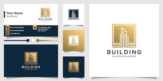 Logo Budynku Z Nowoczesną Złotą Minimalistyczną Koncepcją I Wizytówką Premium Wektorów