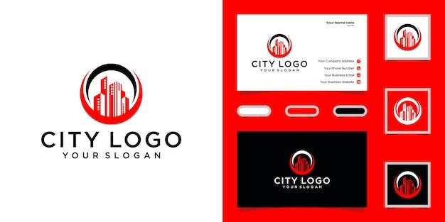 Logo Budynku Z Szablonem Projektu Koła I Wizytówką Premium Wektorów