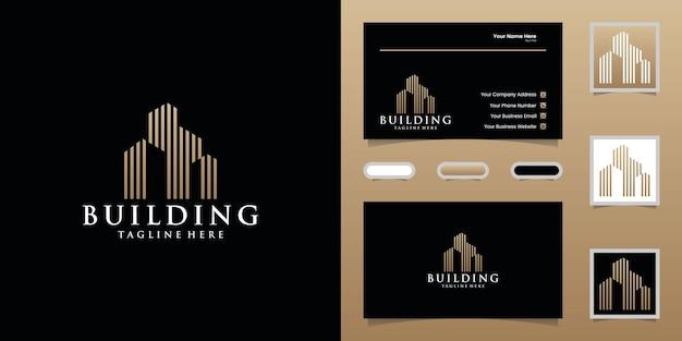 Logo Budynku Z Szablonem Projektu W Kolorze Złotym I Wizytówką Premium Wektorów
