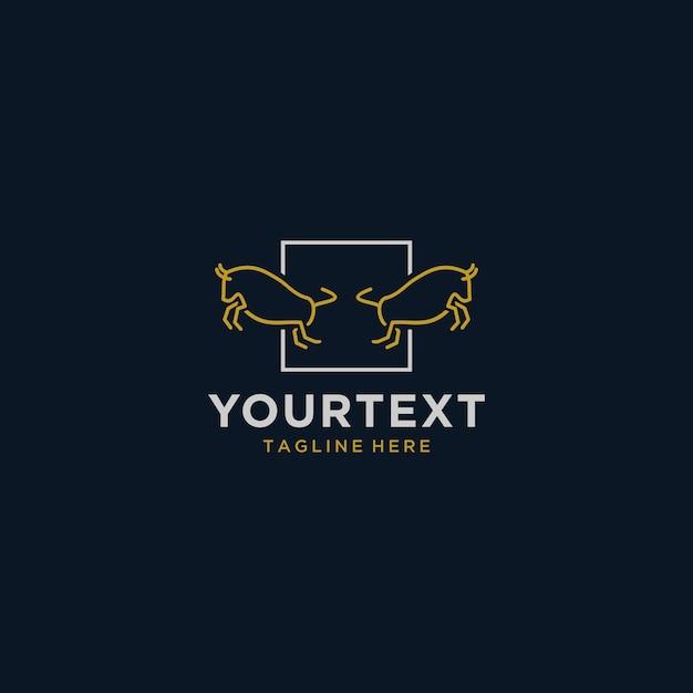 Logo Bull Monoline Z Kwadratem Premium Wektorów