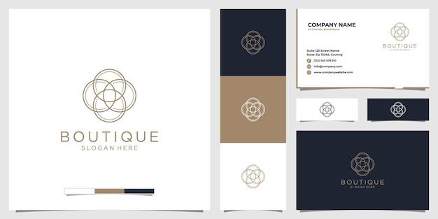 Logo Butiku Piękności Ze Stylem Grafiki Liniowej I Wizytówką Premium Wektorów