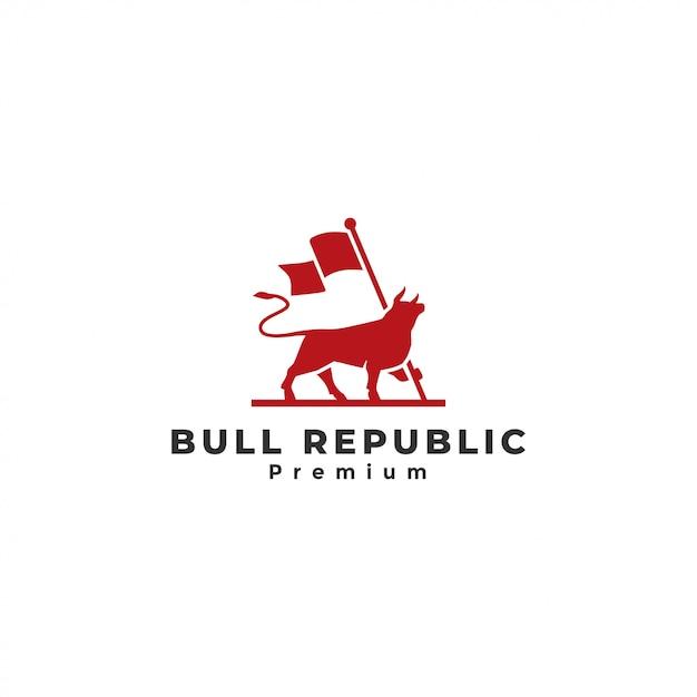 Logo Byka, Byk Trzymając Flagę Premium Wektorów