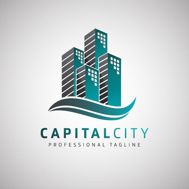 Logo capital city real estate Premium Wektorów