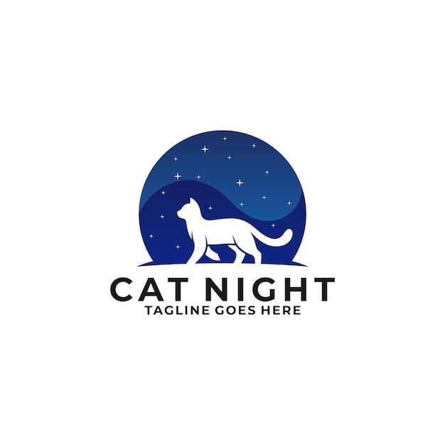 Logo cat walking night Premium Wektorów