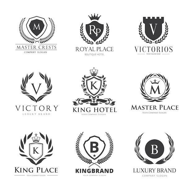 Logo crests. luksusowy projekt logo dla hoteli, nieruchomości, spa, tożsamości marki mody Premium Wektorów