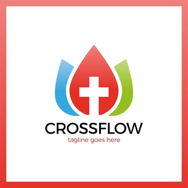 Logo Cross Flower Crown Premium Wektorów