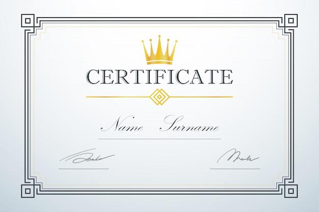 Logo crown. vintage luksusowy design. szablon ramki karty certyfikacyjnej Premium Wektorów