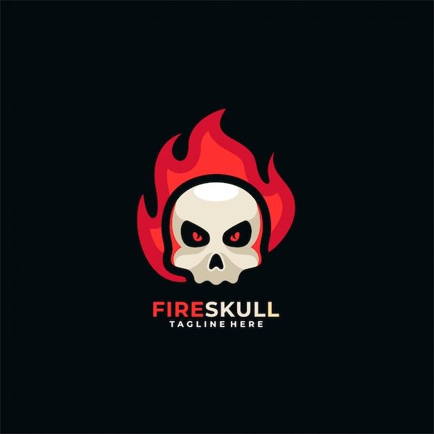 Logo Czaszki Ognia. Premium Wektorów