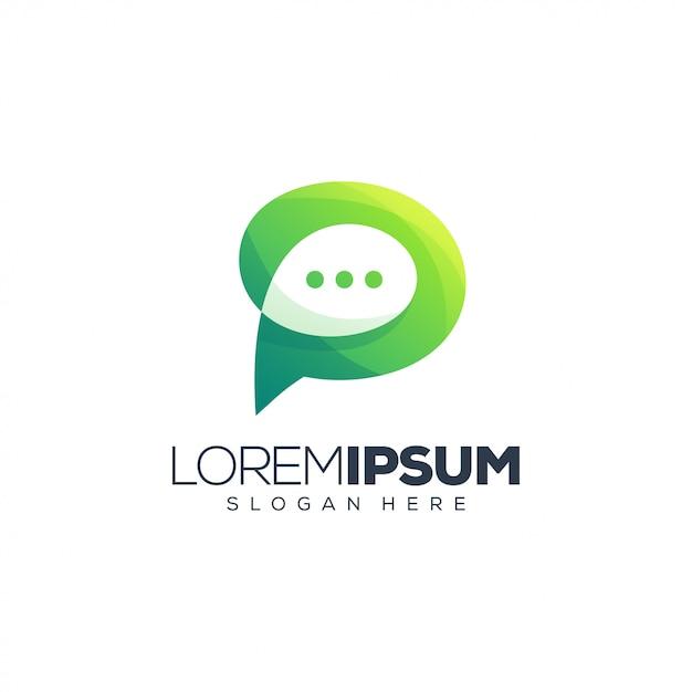 Logo czatu litera p Premium Wektorów