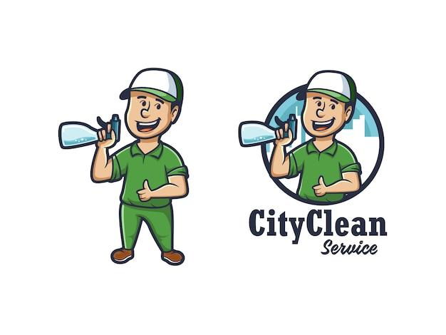 Logo Czystej Maskotki Miasta Premium Wektorów
