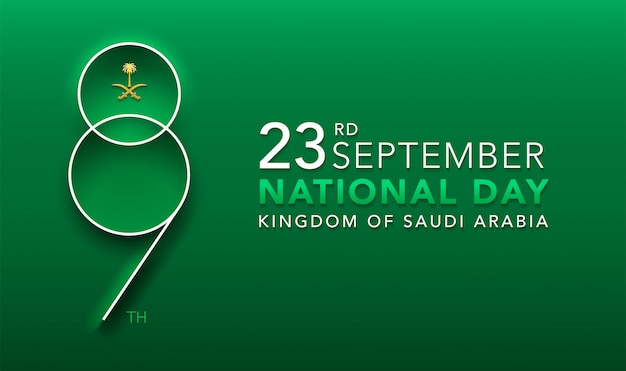 Logo design rocznica 89 lat święto narodowe królestwa arabii saudyjskiej Premium Wektorów