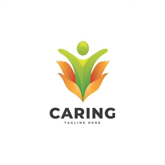 Logo Dłoni Ludzi I Opieki Premium Wektorów