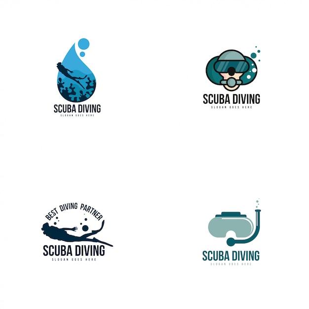 Logo do nurkowania z akwalungiem Premium Wektorów