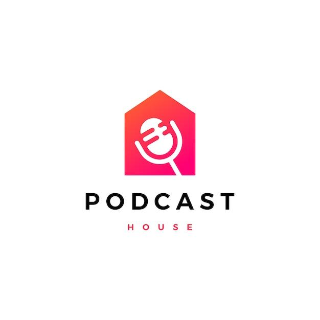 Logo Domu Podcast Mic House Premium Wektorów