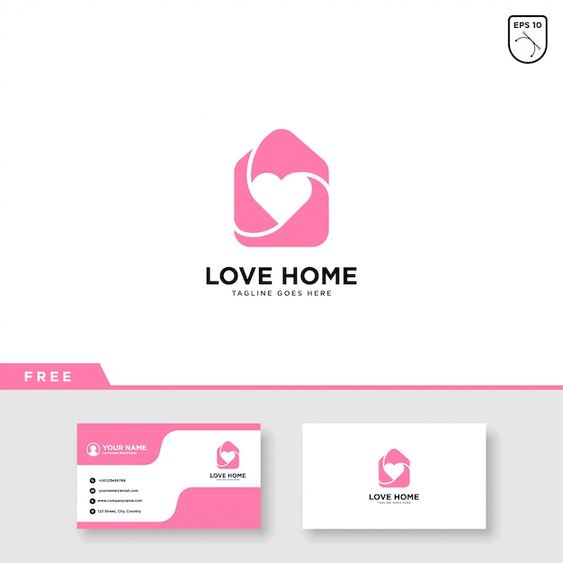 Logo domu z szablonu serca i wizytówki Premium Wektorów