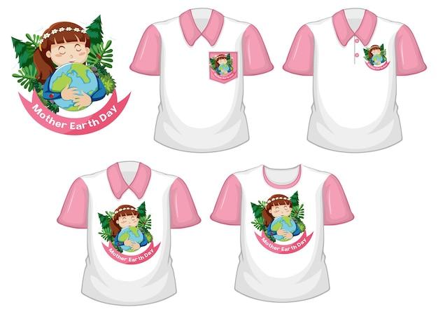 Logo Dzień Matki Ziemi I Zestaw Różnych Białych Koszul Z Różowymi Krótkimi Rękawami Na Białym Tle Darmowych Wektorów