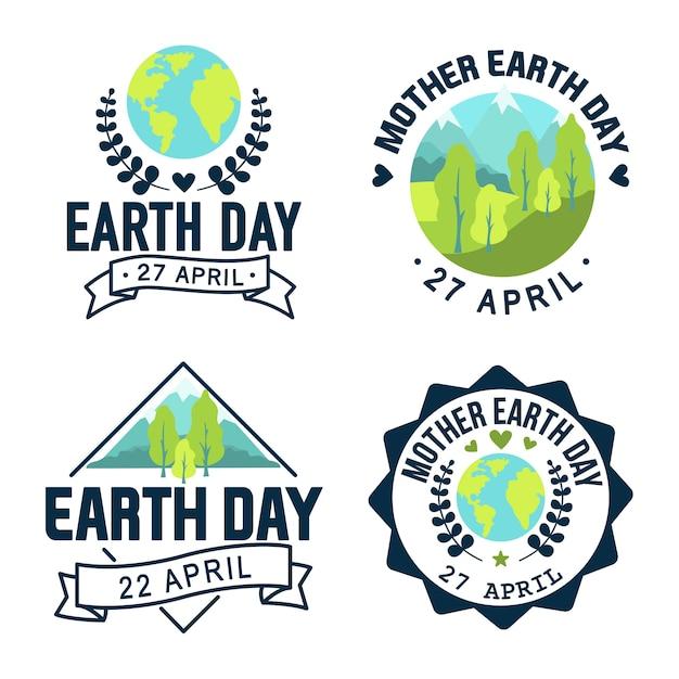 Logo Dzień Matki Ziemi. Ilustracja Ikona Stylu Premium Wektorów