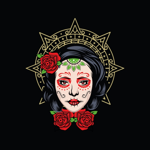 Logo dziewczyny czaszki Premium Wektorów