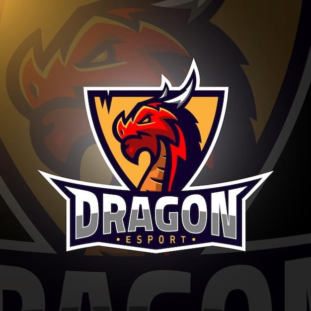 Logo E-gier Dla Graczy Dragon Head Premium Wektorów