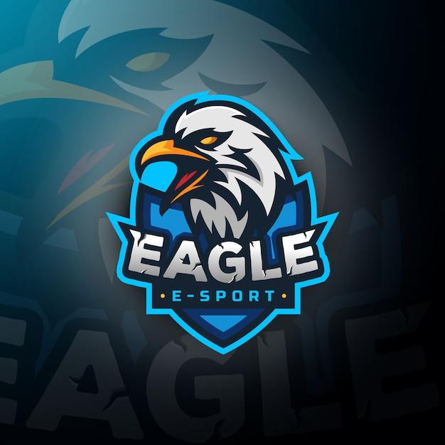 Logo E-gier Z Logo Eagle Head Premium Wektorów